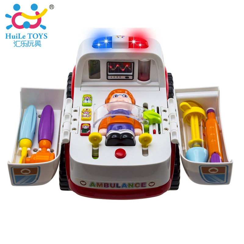 2-in-1 Ambulance Doctor Vehicle Set Baby Toys Pretend Doctor Set and Medical Kit Inside Bump and Go Toy Car with Lights & Sounds classic toys pretend play doctor toys mother garden playsets medicine toys set sxr