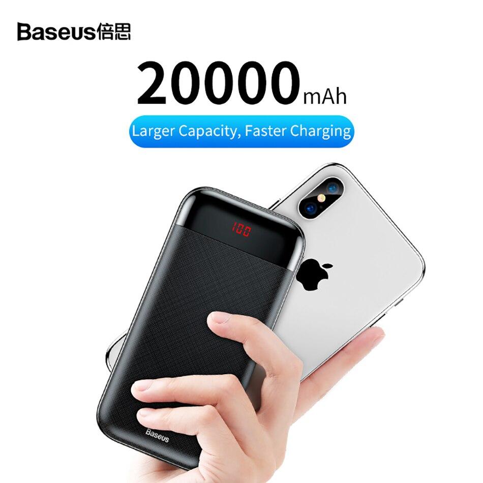 Baseus 20000mAh Power Bank 000 mAh LCD USB C PD Fast Charging Powerbank Portable External Battery Charger For Xiaomi Poverbank 2