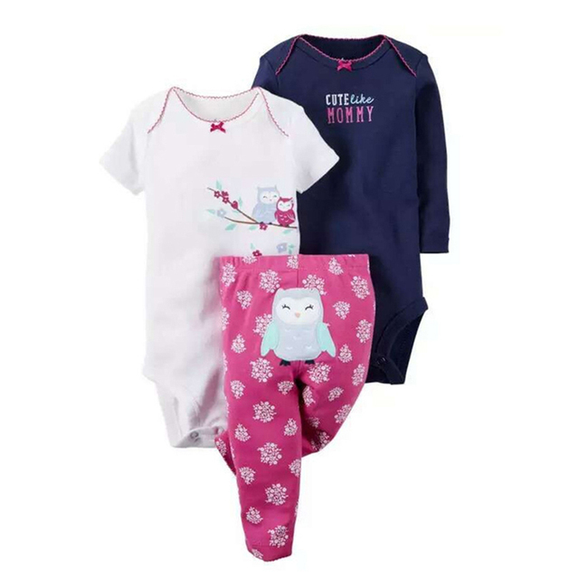 High quality 3pcs lovely cartoon Baby kids boy girl Suits New Born Baby Clothing Set Baby  girls 2017 New Character Clothes New
