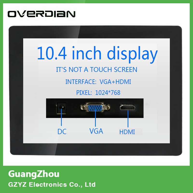 10.4/10Non-touch Screen VGA/HDMI interface Industrial Monitoring Machines Metal Shell Embedded Lcd Monitor1024*768 10 4 10 vga dvi interface non touch industrial control lcd monitor display 1024 768 metal shell hanger card installation 4 3