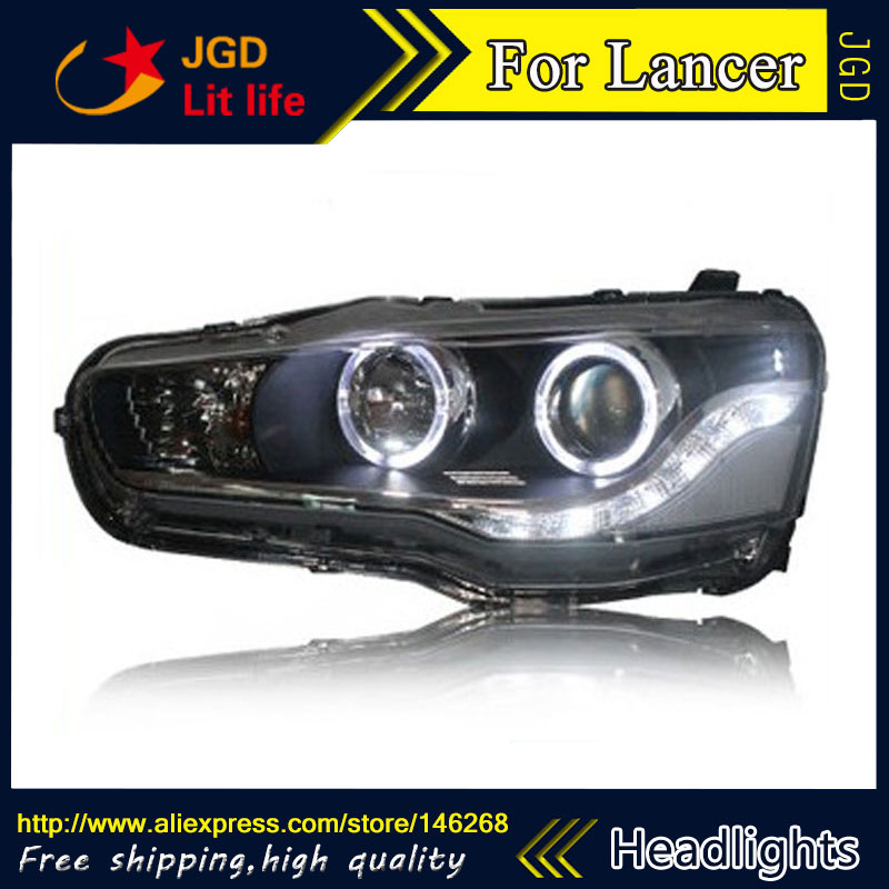 Free shipping ! Car styling LED HID Rio LED headlights Head Lamp case for Mitsubishi Lancer 2009-2011 Bi-Xenon Lens low beam