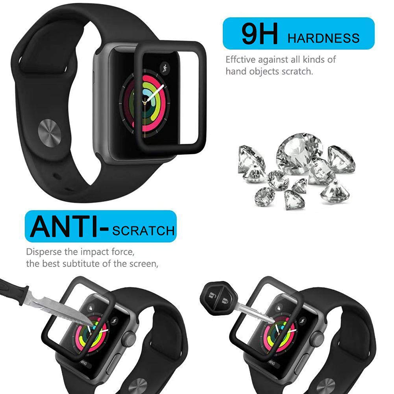 3D Curved Edge HD Tempered Glass for Apple Watch Series 3 2 1 38MM 42MM Screen