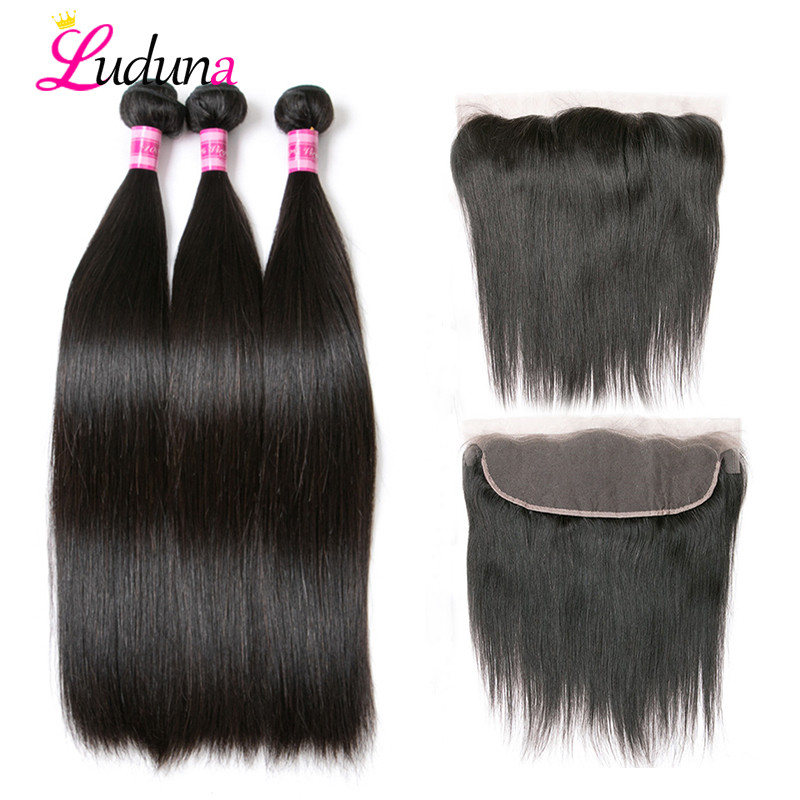 Luduna Hair Weave 3 Bundles With Frontal Closure Straight Hair Extension With Front Remy Human Hair