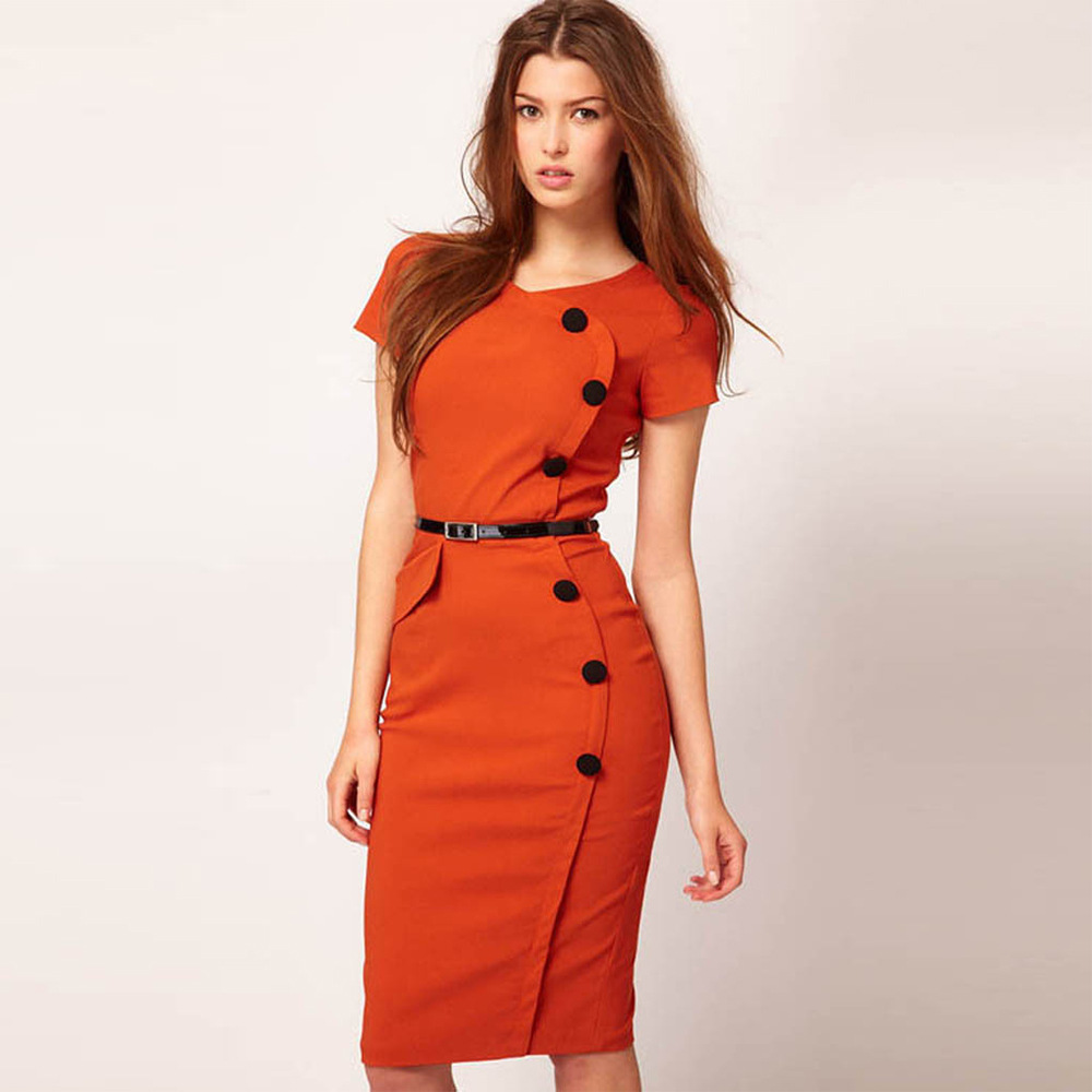 Misshow Professional Women Solid Pencil Dress Casual Vintage Elegant Work  Business Office Short Sleeve Fitted Bodycon Vestido-in Dresses from Women's  ...