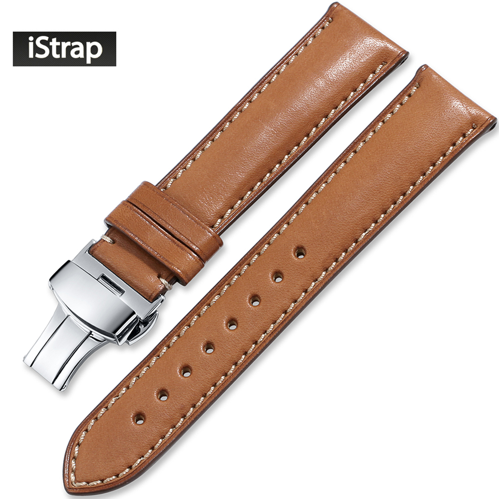 iStrap Watch Strap Leather 20mm 21mm 22mm Brown Watchband High Quality Replacement Band Silver Deployment Buckle For Men Women 20mm buckle 16mm black brown high quality alligator leather watchband waterproof straps bracelets for brand luxury men watches