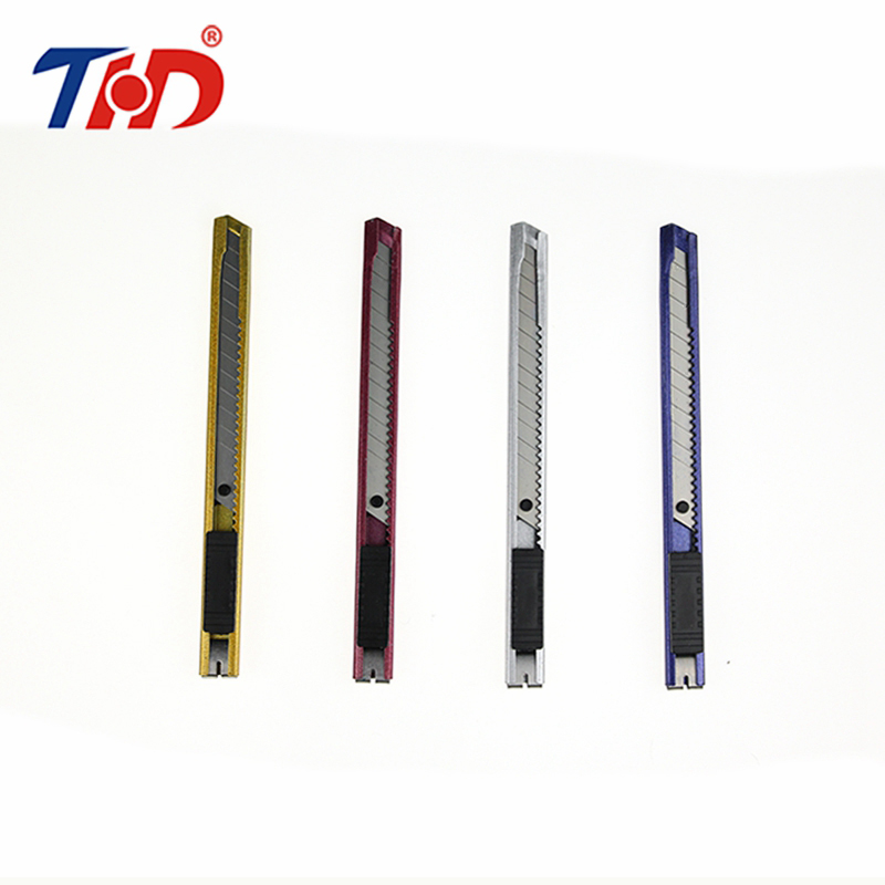 THD 5.1'' Stationery Knife Stainless Steel Auto-lock Paper Cutter 9mm Width Blades Knife School Chancery Utility Knife Cutter