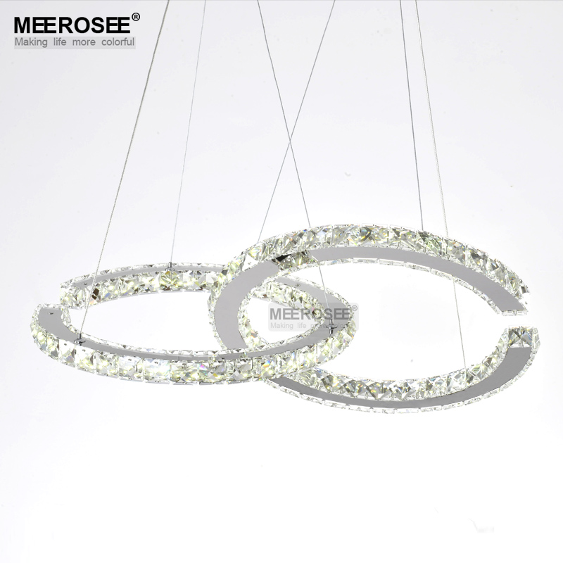 Wholesale LED Crystal Chandelier Two C Circels Chandeliers Light Fixture LED Crystal Lighting Hanging Fitting For Dining Room