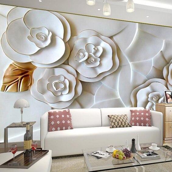 wall living 3d modern background flower tv mural wallpapers brief sofa