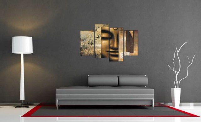 4 Panel Large Buddha Wall Art Chinese Style Feng Shui Oil Painting ...