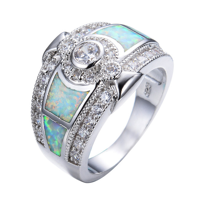 925 Sterling Silver White Fire Opal Wedding Rings For Women White