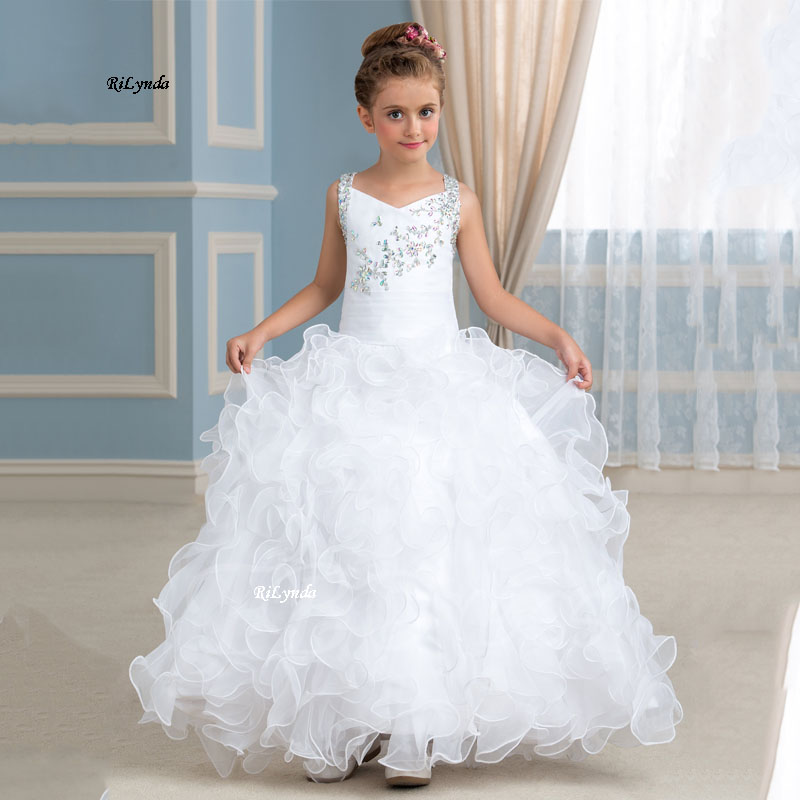 New   Flower     Girl     Dresses   With Butterfly Short Sleeves Ball Gown O-Neck First   Girls   Communion Gown   Girls   Pageant   Dress   New