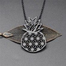 Купить с кэшбэком 4 Colors Origami Pineapple Necklace Fruit Charm Female and Male Gift Summer Necklace Fashion Women Jewellery Geometric Jewellery