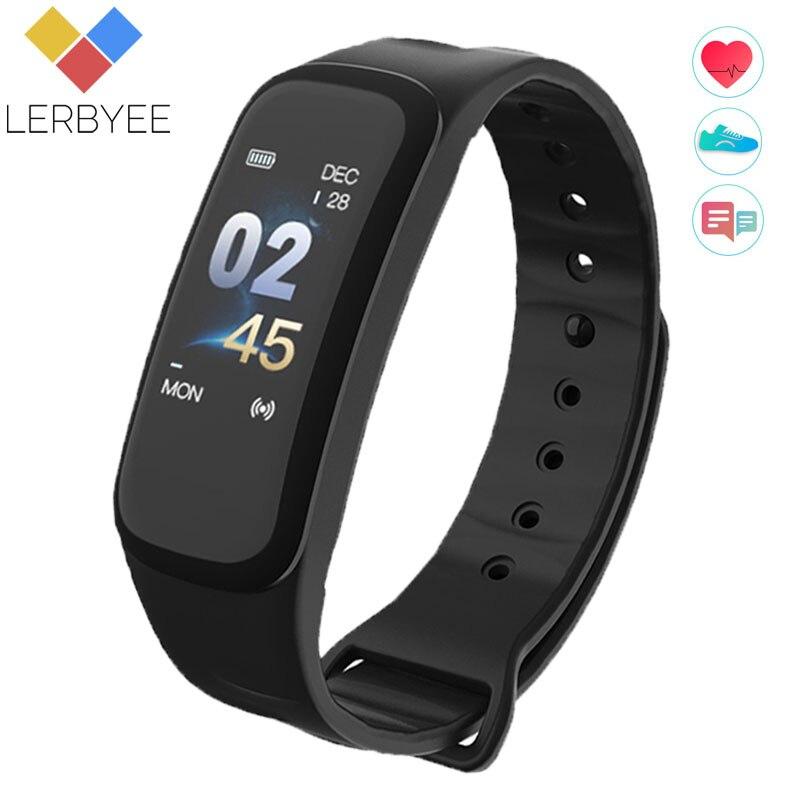 Lerbyee Fitness Tracker C1Plus pantalla a Color pulsera inteligente presión arterial Monitor de frecuencia cardíaca inteligente banda Nueva para el Deporte