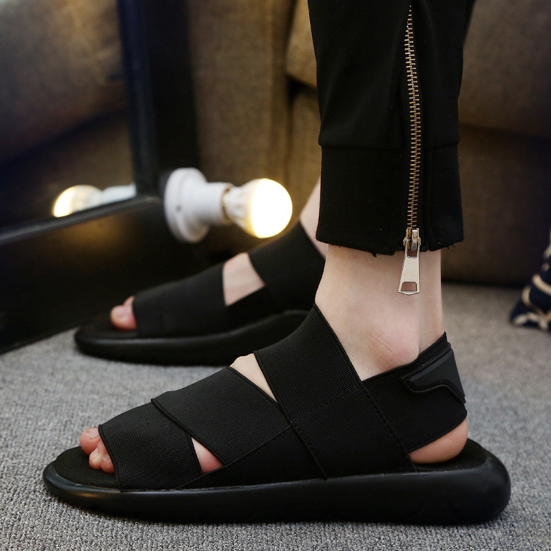 New Fashion Summer Beach Shoes Breathable Men Sandals Black Simple Hand Sewing Genuine Leather Mens Sandal Man Causal Shoes