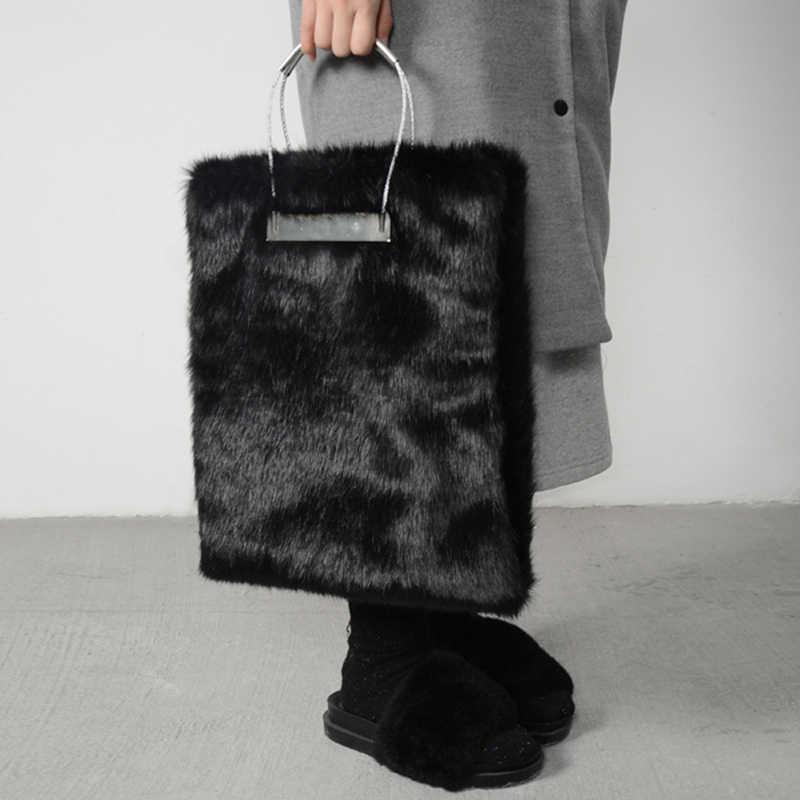 11688112ddf 2019 Stylish Winter Black Fur Women Handbags Luxuy Handle Totes Bag  Designer Clutch Purse Ladies Leather