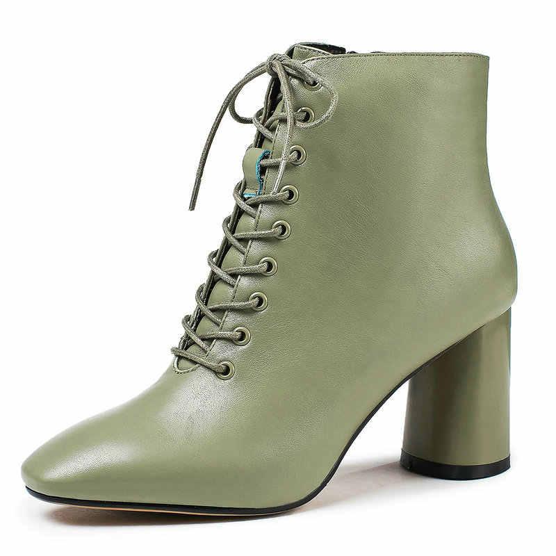 Yeşil Siyah Blok Topuk yarım çizmeler Kadınlar için Moda Lace up Hakiki Deri kısa çizmeler Bayanlar Parti Elbise Yüksek Topuk Çizmeler