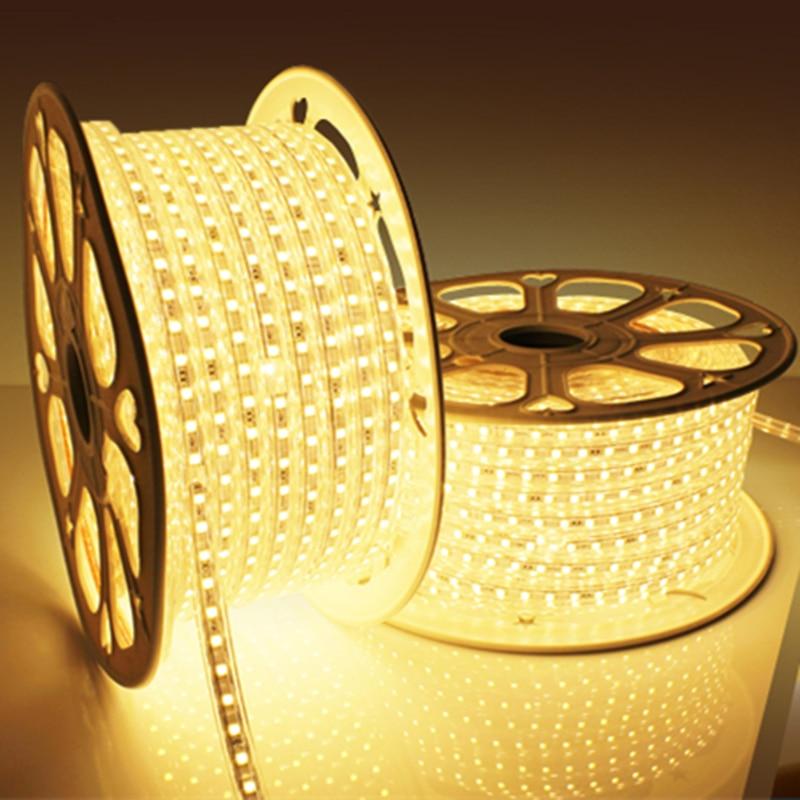 Waterproof SMD 5050 AC220V 1M 2M 3M 5M 10M 15M 25M LED Strip Light With EU/US Plug Christmas Outdoor Garden Led Tape Z50