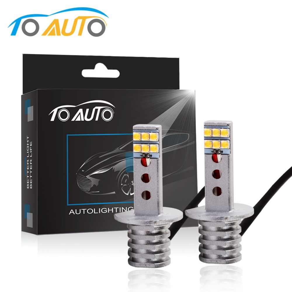 2pcs Car Fog Lamp H1 LED Bulbs with SHARP Chips 12 SMD Replacement for Fog Lights 6500K White Auto Lamp DC 12V 24V