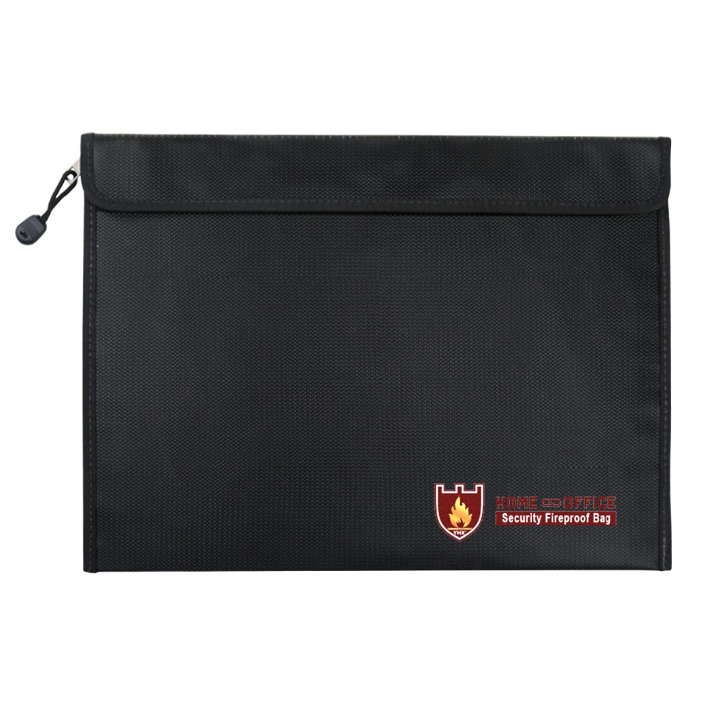 SOONHUA Fireproof Safe Money Document Bag Fire Water Resistant Document Holder Safe Storage For Files Passport Valuables Zipper