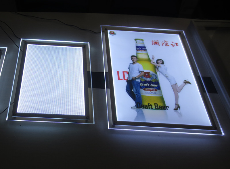 Crystal Frame Led Edge Lit Advertising Panel Light Box