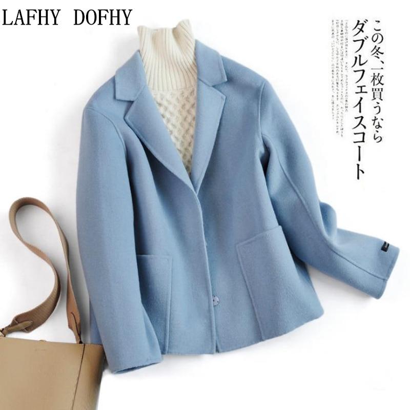 Hiver nouveau style simple couleur unie recouvert bouton grande poche couture à la main double face court laine manteau costume col slim hauts 123