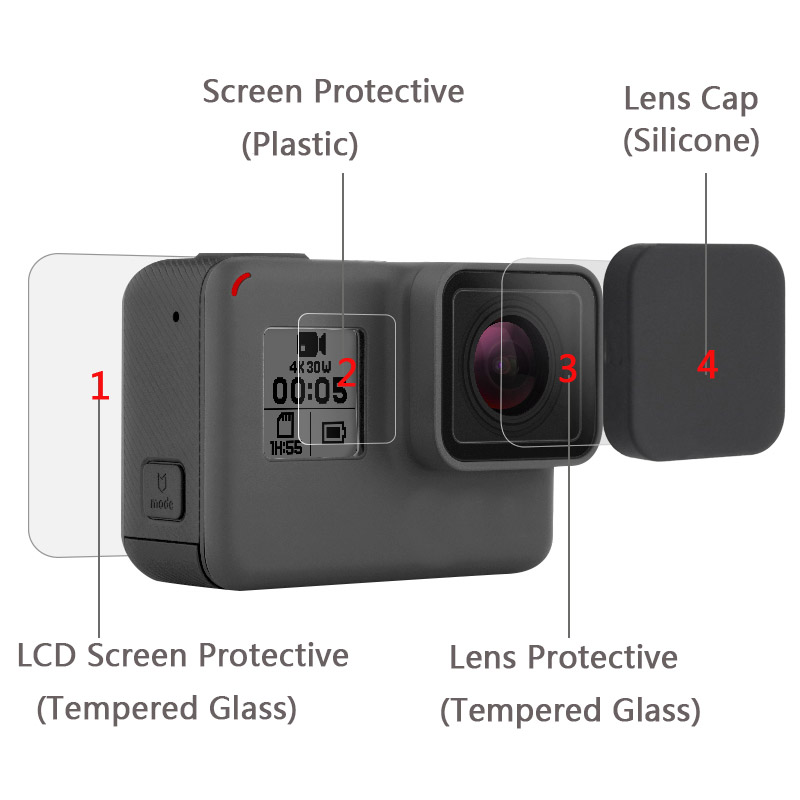 PULUZ Tempered Glass Protector Cover Case For Go Pro Gopro Hero 5 6 7 Hero5 Camera
