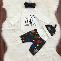 2018 Baby Girl Clothes Set My First New Year Letter Romper Printed Trousers Cute Hat And