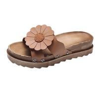 Nouvelle Arrivée De Mode Femmes Fleur Solide Talon Plat À Fond Épais sandales D'été Pantoufle Bout Rond Plage Chaussures zapatos de mujer S