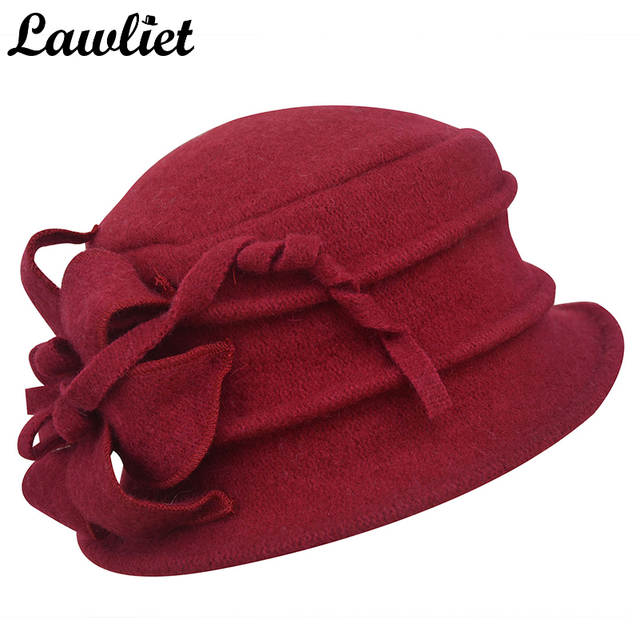 Lawliet Women Winter Hat Warm Pure Wool Cap Elegant Flower Floppy Hat  Middle Age Female Fedoras 2f7aa7d12f0d