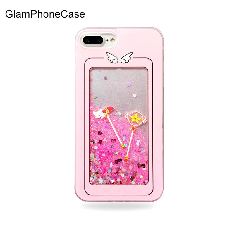 GlamPhoneCase Cellulaire Téléphone Cas Pour iphone 7 8 plus 6 6 S 7 Plus Clair Rose Dynamique Liquide Glitter Quicksand Sailor Moon Magic Staf