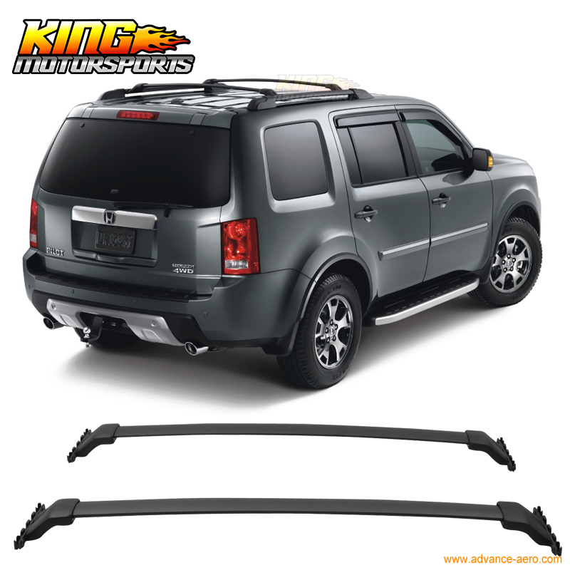 For 2009-2015 Honda Pilot OE Style Black Top Roof Rack Cross Bar Sports Mounting Kit 2pcs roof rack cross bar crossbar black abs aluminum for jeep compass 2011 2015