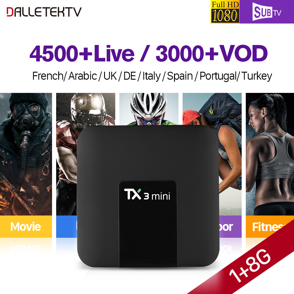 TX3 MINI Android 7.1 Smart TV Box 1 Year SUBTV Subscription IPTV Europe Albania French Arabic Portugal Channels IPTV Top Box full hd french iptv arabic brazil iptv box android 6 0 smart tv box subtv code subscription 3500 turkish albania ex yu iptv box