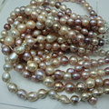 16 inches AAA 12-15mm High Luster Natural Multicolor Baroque Pearl Loose Strand