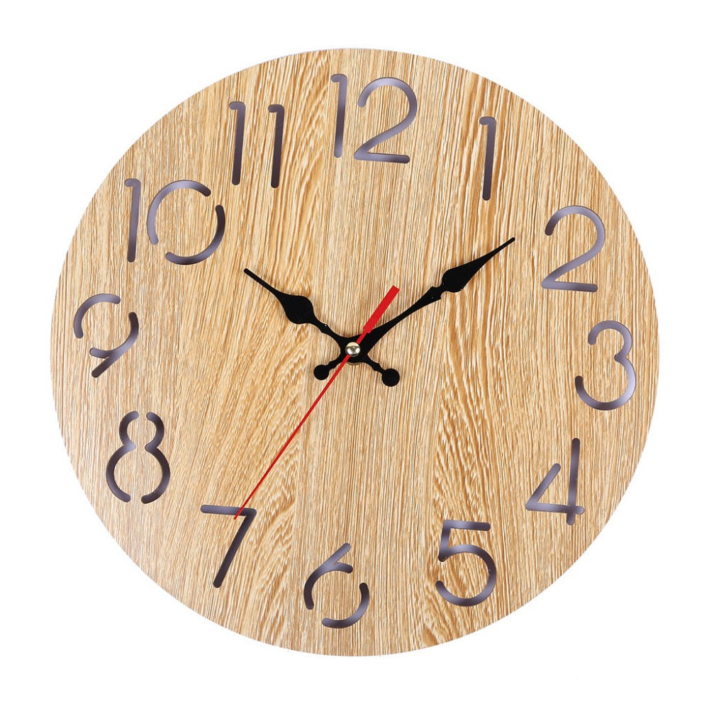 Wood Wall Clocks Home Decor Cartoon Modern Wood Wall Clock Vintage Rustic Antique Shabby Retro Home Kitchen Room Decor K507
