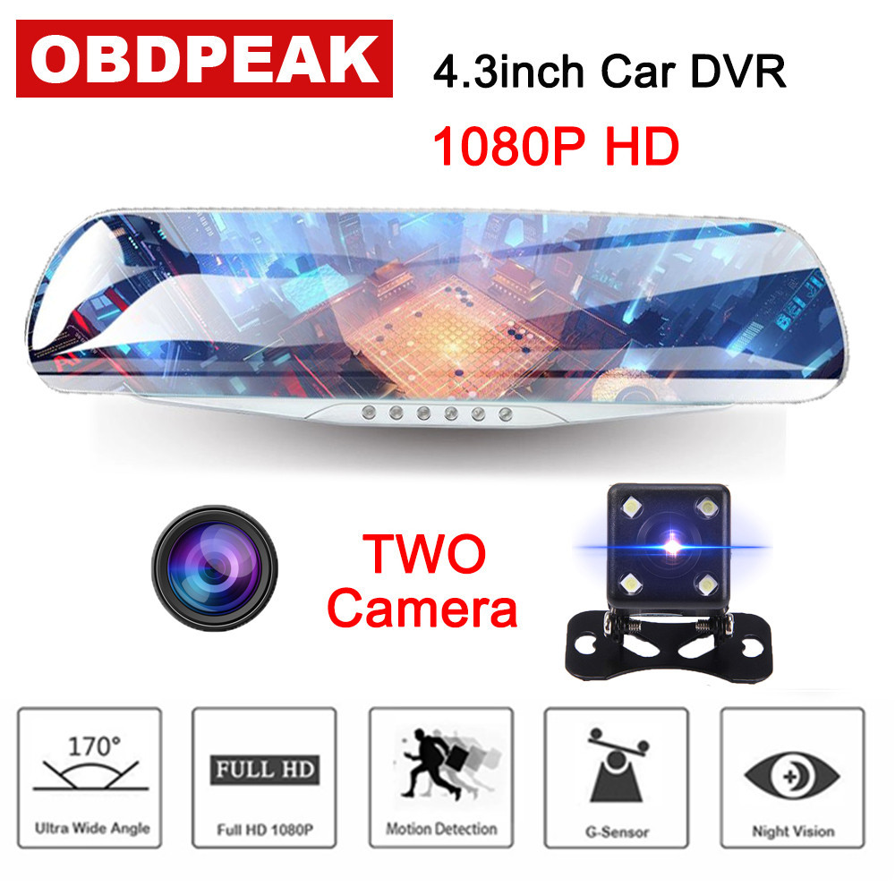 Newest  4.3 Inch Full HD 1080P Car DVR Camera Smart Rearview Mirror Car Automatic Video Recorder  Car Camera Dashcan Dual Lens