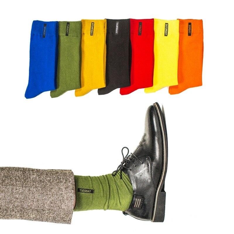 New Arrival High Quality Solid Week Socks Fashion Men Socks Cotton Crew Socks Embroidery Funny Happy Socks Men Art Pure Color