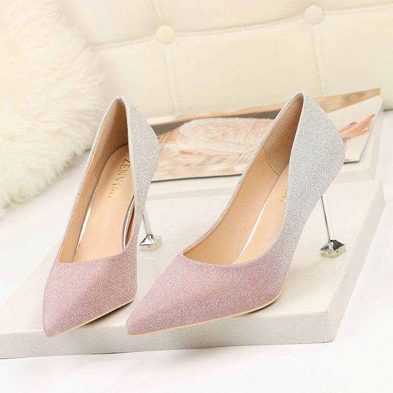 2019 new sexy fashion women 39 s shoes exquisite gradient color single shoes women 39 s shallow mouth square root high heels women in Women 39 s Pumps from Shoes