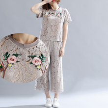 Plus size M-3XL 4XL 5XL women 2 piece set top and pants summer outfit 2019 lace embroidery floral loose tracksuit suits Clothing