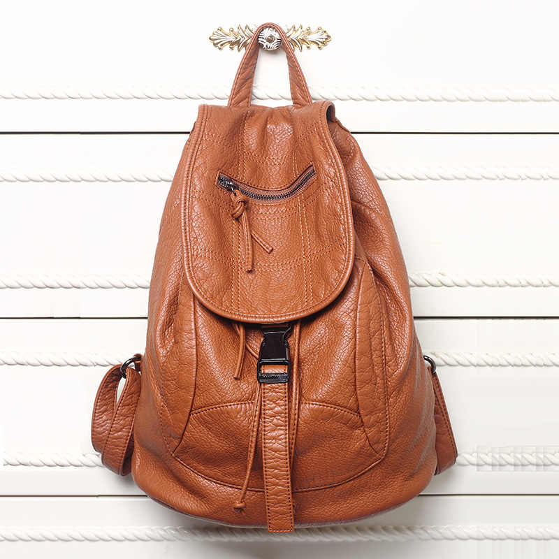New Designer Washed Leather Bag High-grade Leather Women Backpacks Mochilas Mujer School Backpack for Girls Travel Bag Rucksack