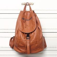 Yeni tasarımcı yıkanmış deri çanta yüksek dereceli deri kadın sırt çantaları Mochilas Mujer okul sırt çantası kızlar için sırt çantası seyahat çantası