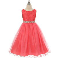 Girls Lace Dresses Summer 2016 High Quality Pink Flower Girl Dresses For Party And Wedding Princess