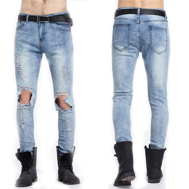 f4baa9b2c8 Los hombres Adelgazan Vaqueros Rotos Gran Agujero jeans Ajustados Pantalones  Vaqueros Largos de Los Hombres Pantalones