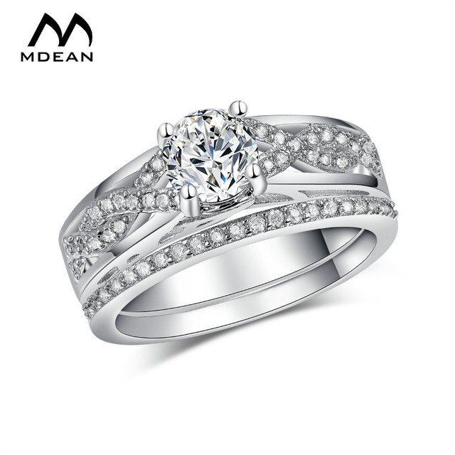 MDEAN White Gold Color Ring Sets For Women Engagement Finger   AAA Zircon Jewelry Vintage Wedding Accessories Size 6 7 8 MSR186