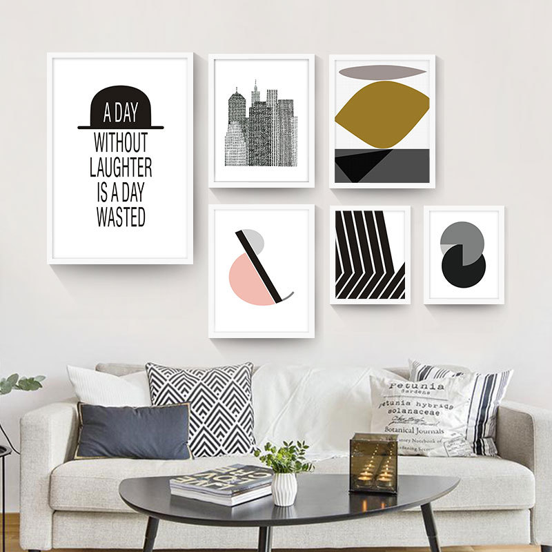 Abstract Geometry Cool Style Skyscraper Inspiring Letters Nice Background Wall Paintings Art Canvas Posters for Home Decoration