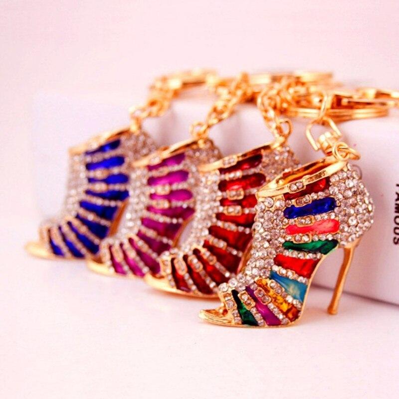 Новый Кристалл Высокий каблук брелки брелок сумка со стразами башмак брелок для ключей Для женщин сумки Талисманы кулон ювелирные изделия