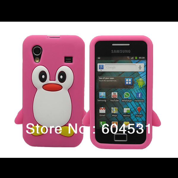 Free shipping 200pcs/lot  mix color New 3D Cute Penguin Style Silicone Rubber Case Cover For Samsung Galaxy Ace S5830