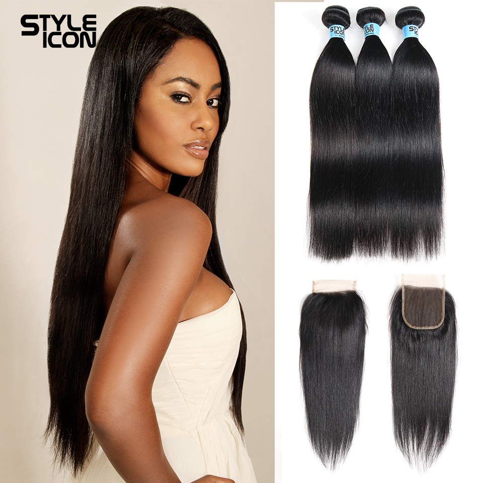 Styleicon Brazilian Straight Human Hair Bundles With Closure Natural Color 2 3 Bundles Hair Weave With Lace Closure Non Remy