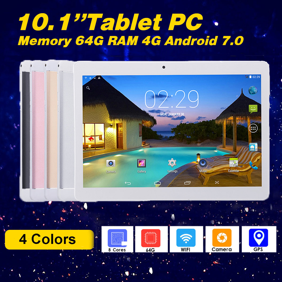 New 10 inch Original Design Phone Call Android 7.0 Quad Core 4GB+64GB Android Tablet pc WiFi  GPS IPS Tablets 10.1