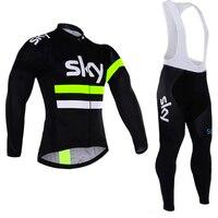 2018 cycling jersey sky long sleeve pro bike bib pants set Ropa Ciclismo mens cycle wear bicycle uniformes Maillot Sportwear