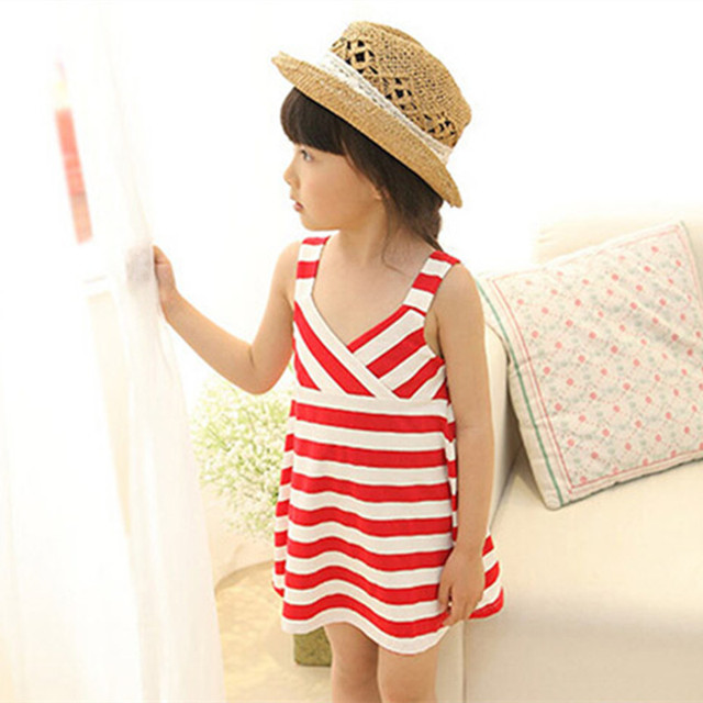 60abb8b99 Girl Dress Summer New Floral Baby Girl Beach dress Princess Infant Dresses  striped girls Suspender dress Kids Clothing